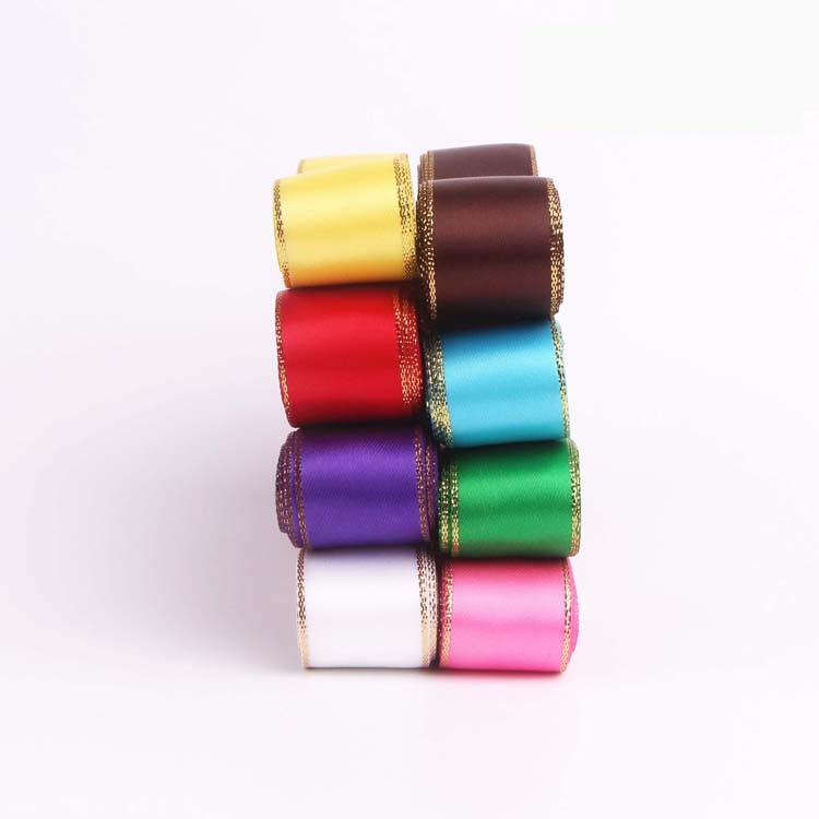16mm Golden Edge Single Faced Satin Ribbon Assortment
