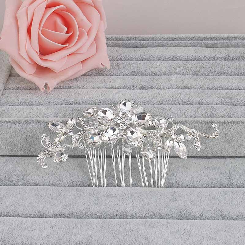 Crystal Rhinestones Flower Pattern Hair Comb