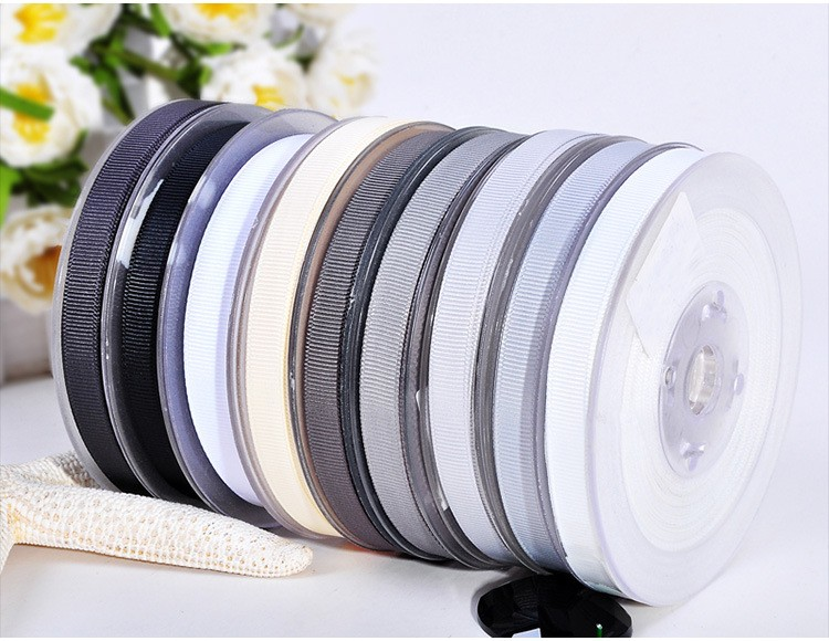 Polyester Grosgrain Ribbon Black White Series