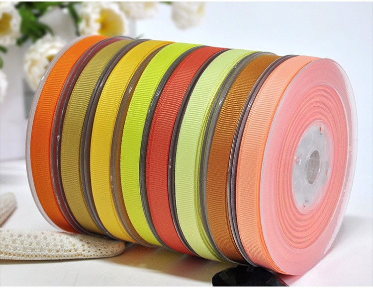 Solid Polyester Grosgrain Ribbon Yellow Series