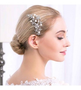 Bridemaid Silver Plated Starfish Prom Crystal Hair Comb
