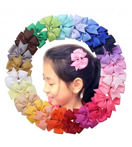 Grosgrain Ribbon Hair Bow Clips 24 in 1 Assortment