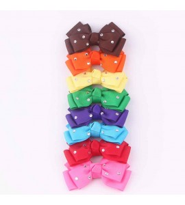 Grosgrain Ribbon Hair Bow with Gemstone FJ01808