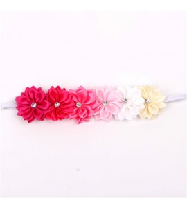 Satin Ribbon Flower Headband with Gemstone