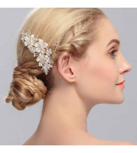 Wedding Bridal Hair Comb Gold Silver Plated Flower Pattern