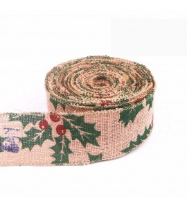 Christmas Wired Edge Burlap Ribbon