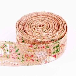 Christmas Wired Burlap Ribbon