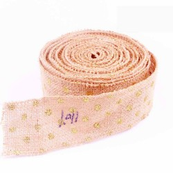 Golden Dot Wired Edge Burlap Ribbon