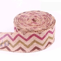 Trichromatic Zigzag Wired Burlap Ribbon
