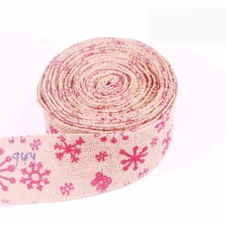 Red Snowflake Wired Edge Burlap Ribbon