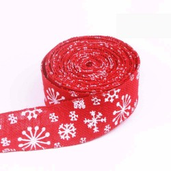 White Snowflake Red Wired Edge Burlap Ribbon