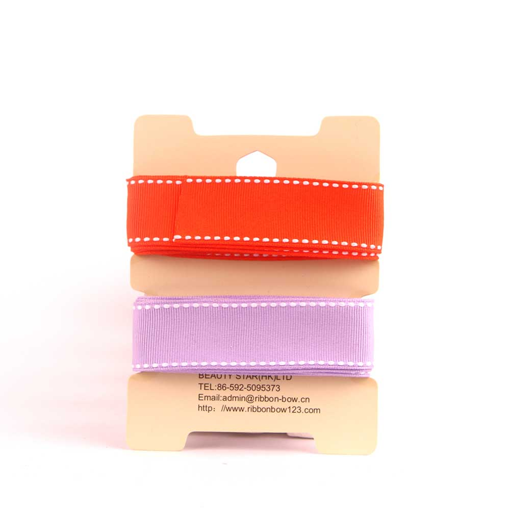 Stitched Grosgrain Ribbon 2 in 1 Assortment 03