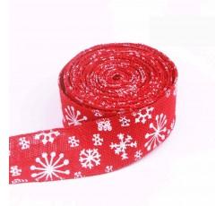 White Snowflake Red Wired Edge Burlap Ribbon