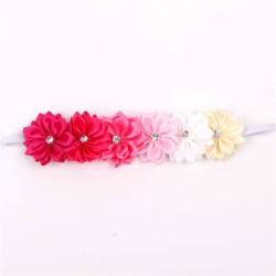 Satin Ribbon Flower Headband with Gemstone