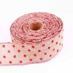 Red Dot Wired Edge Burlap Ribbon