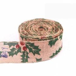 Christmas Wired Edge Burlap Ribbon